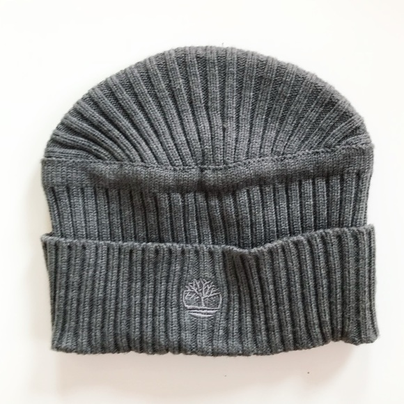 21e78c92 Timberland Accessories | Charcoal Gray Ribbed Logo Cuff Beanie ...
